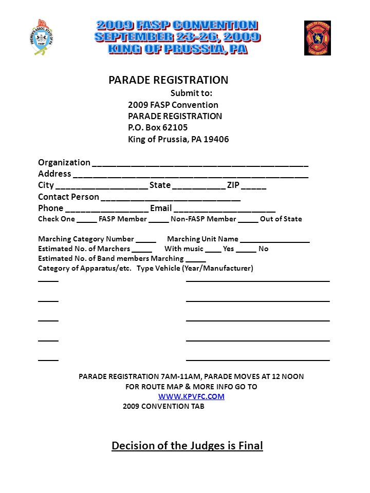 PARADE REGISTRATION Submit to: 2009 FASP Convention PARADE REGISTRATION P.O.