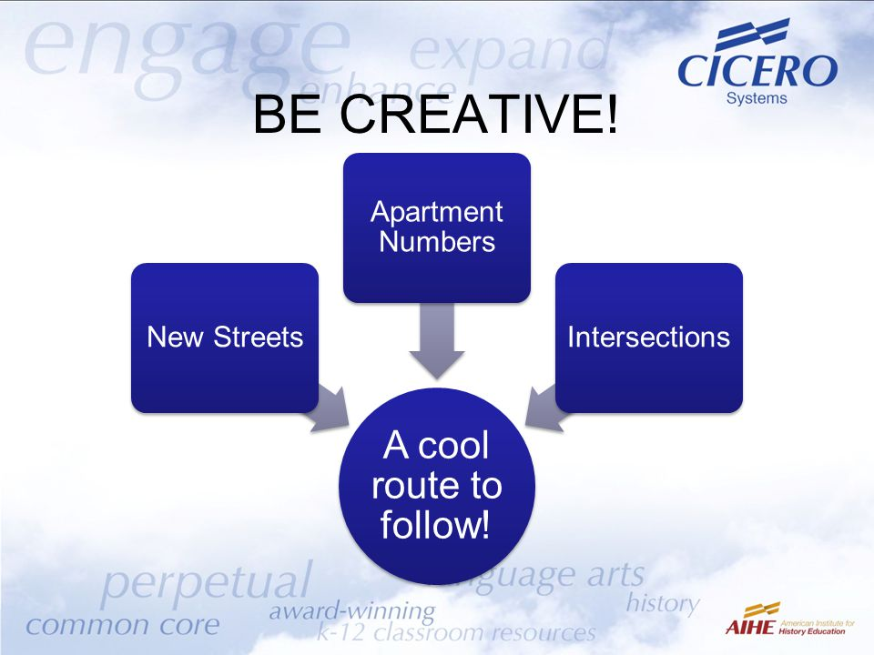BE CREATIVE! A cool route to follow! New Streets Apartment Numbers Intersections
