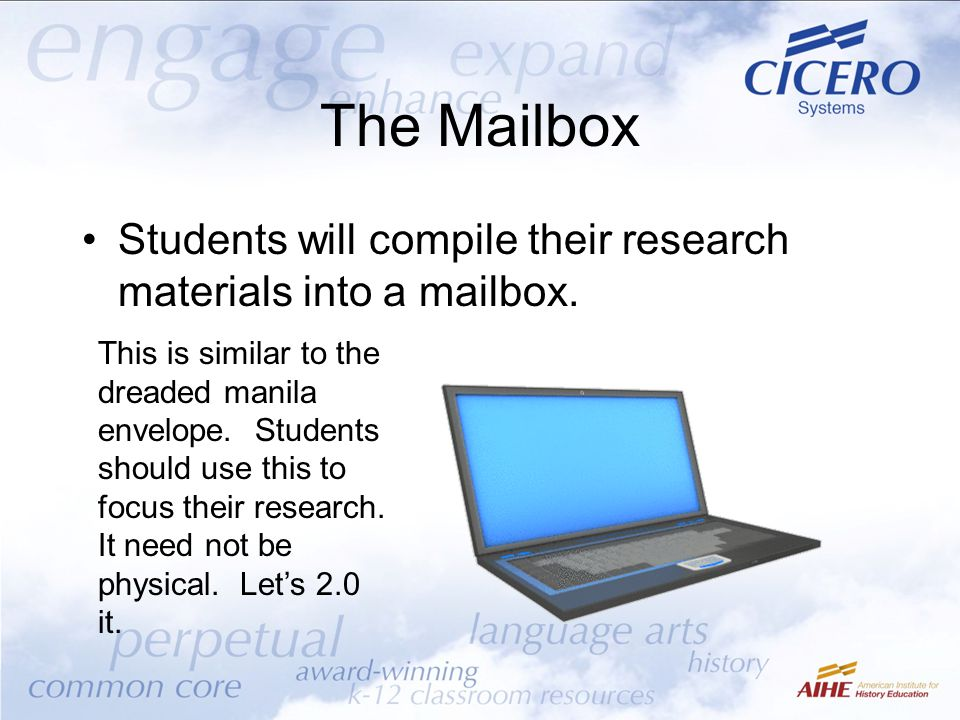 The Mailbox Students will compile their research materials into a mailbox. This is similar to the dreaded manila envelope. Students should use this to