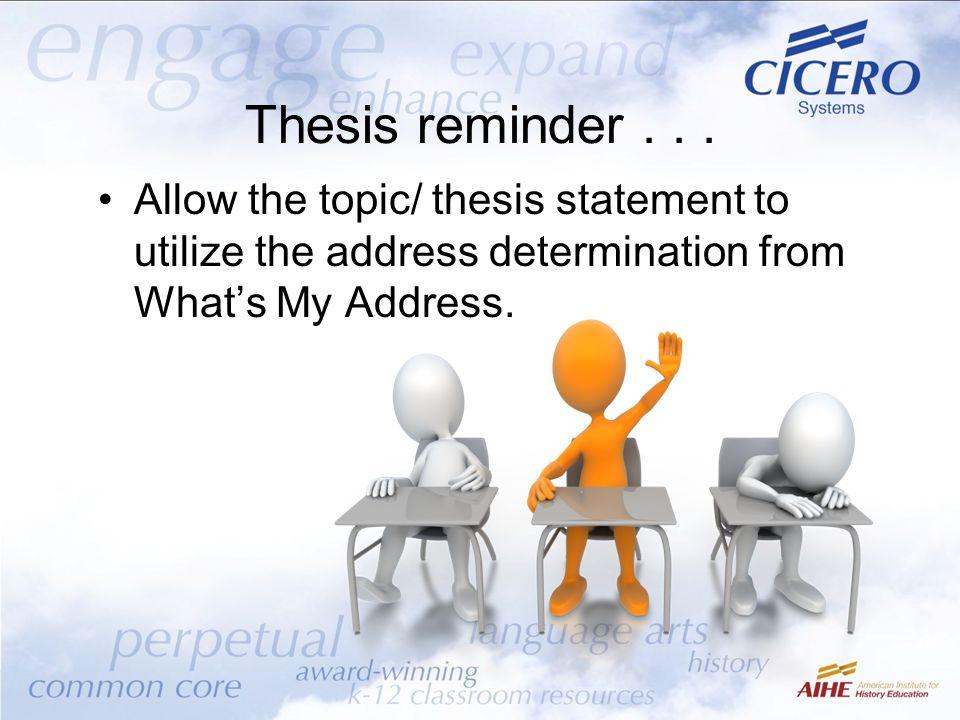 Thesis reminder...