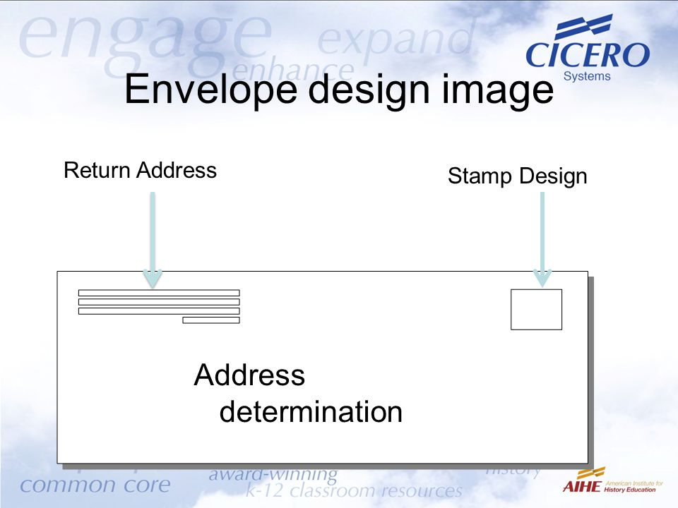 Envelope design image Address determination Return Address Stamp Design