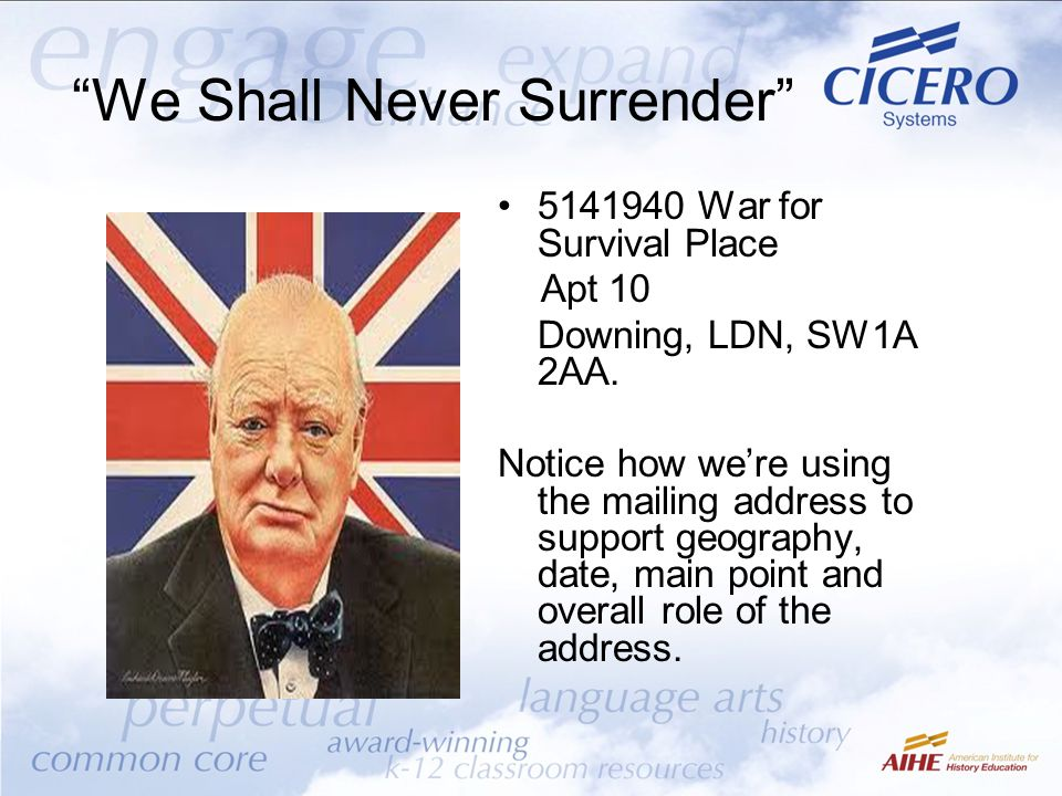 We Shall Never Surrender 5141940 War for Survival Place Apt 10 Downing, LDN, SW1A 2AA.