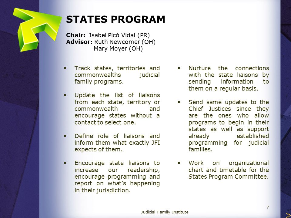 STATES PROGRAM Chair: Isabel Picó Vidal (PR) Advisor: Ruth Newcomer (OH) Mary Moyer (OH)  Track states, territories and commonwealths judicial family programs.