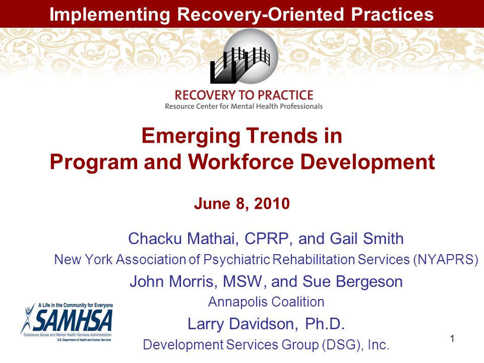 1 Emerging Trends in Program and Workforce Development June 8, 2010 Chacku Mathai, CPRP, and Gail Smith New York Association of Psychiatric Rehabilitation Services (NYAPRS) John Morris, MSW, and Sue Bergeson Annapolis Coalition Larry Davidson, Ph.D.