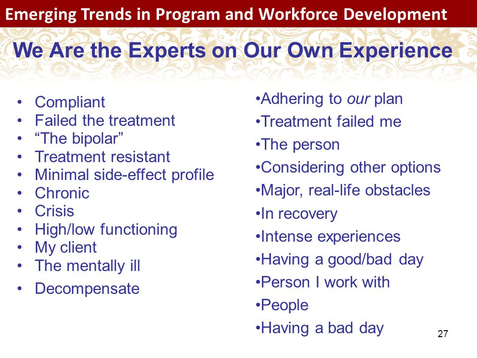 27 Emerging Trends in Program and Workforce Development We Are the Experts on Our Own Experience Compliant Failed the treatment The bipolar Treatment resistant Minimal side-effect profile Chronic Crisis High/low functioning My client The mentally ill Decompensate Adhering to our plan Treatment failed me The person Considering other options Major, real-life obstacles In recovery Intense experiences Having a good/bad day Person I work with People Having a bad day Emerging Trends in Program and Workforce Development