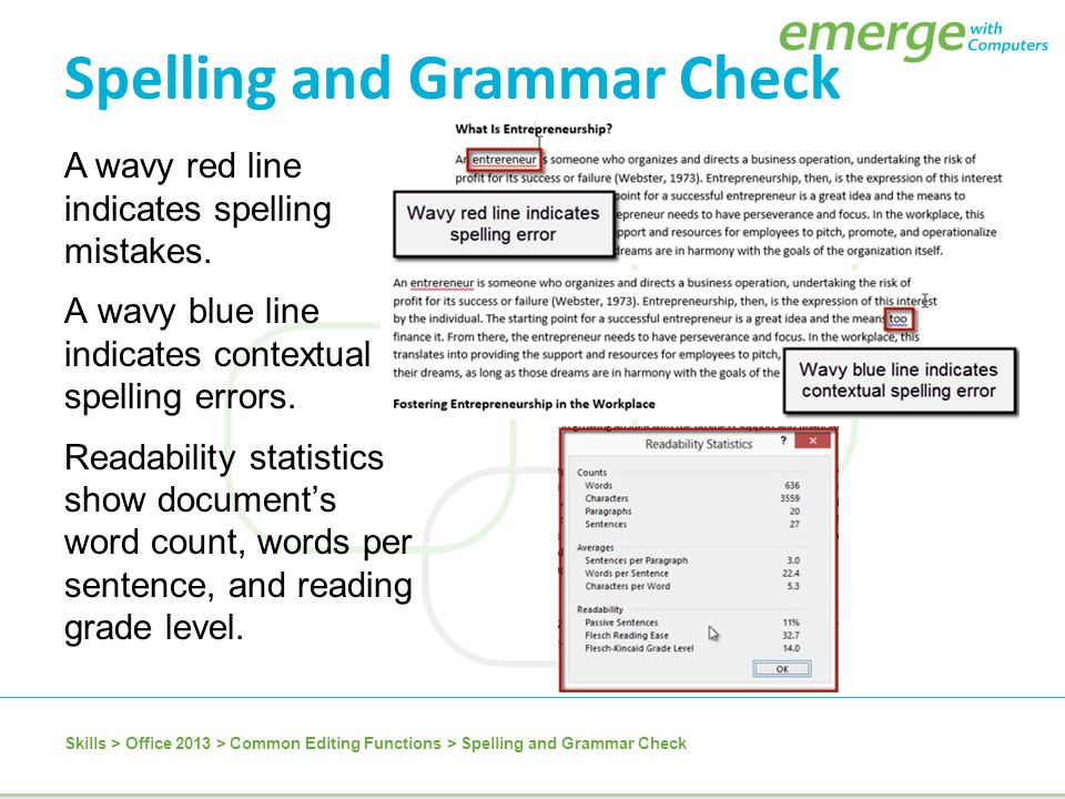 A wavy red line indicates spelling mistakes. A wavy blue line indicates contextual spelling errors. Readability statistics show document's word count,