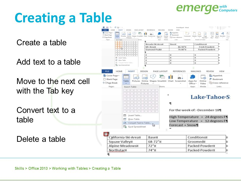 Create a table Add text to a table Move to the next cell with the Tab key Convert text to a table Delete a table Skills > Office 2013 > Working with T