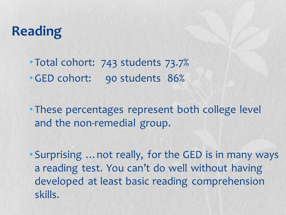 Reading Total cohort: 743 students 73.7% GED cohort: 90 students 86% These percentages represent both college level and the non-remedial group.