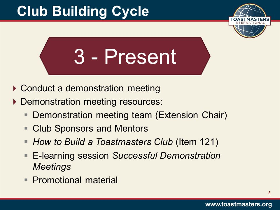 Club Building Cycle 8 3 - Present  Conduct a demonstration meeting  Demonstration meeting resources:  Demonstration meeting team (Extension Chair)  Club Sponsors and Mentors  How to Build a Toastmasters Club (Item 121)  E-learning session Successful Demonstration Meetings  Promotional material