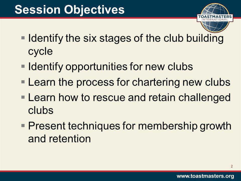 Session Objectives  Identify the six stages of the club building cycle  Identify opportunities for new clubs  Learn the process for chartering new clubs  Learn how to rescue and retain challenged clubs  Present techniques for membership growth and retention 2