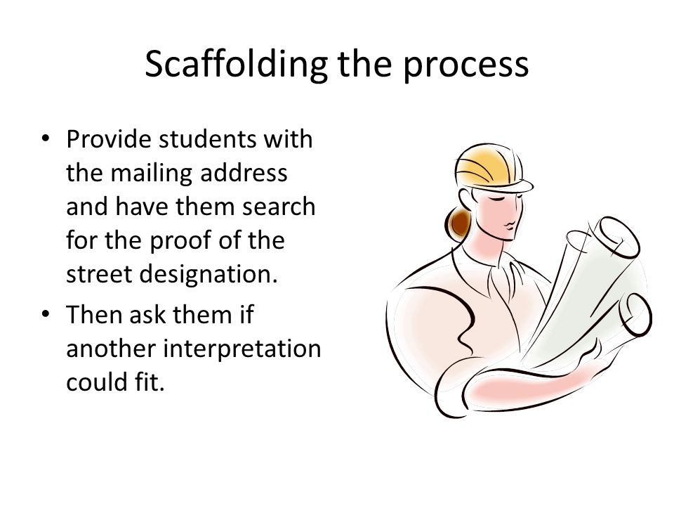 Scaffolding the process Provide students with the mailing address and have them search for the proof of the street designation.