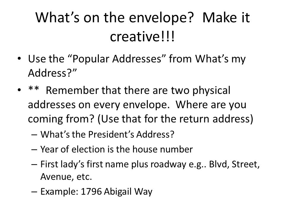 What's on the envelope. Make it creative!!.