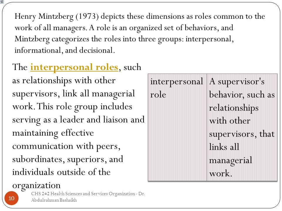 10 Henry Mintzberg (1973) depicts these dimensions as roles common to the work of all managers. A role is an organized set of behaviors, and Mintzberg