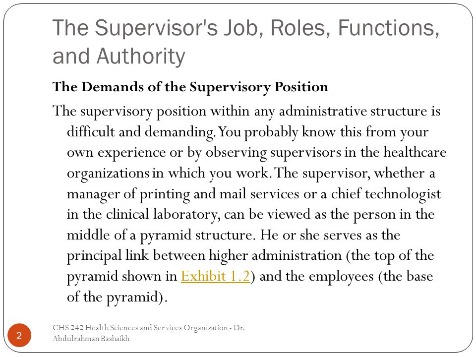 The Supervisor s Job, Roles, Functions, and Authority 2 The Demands of the Supervisory Position The supervisory position within any administrative structure is difficult and demanding.