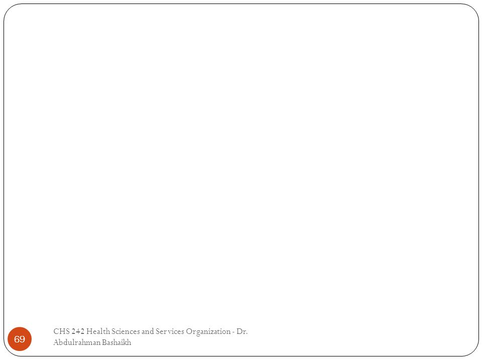 69 CHS 242 Health Sciences and Services Organization - Dr. Abdulrahman Bashaikh
