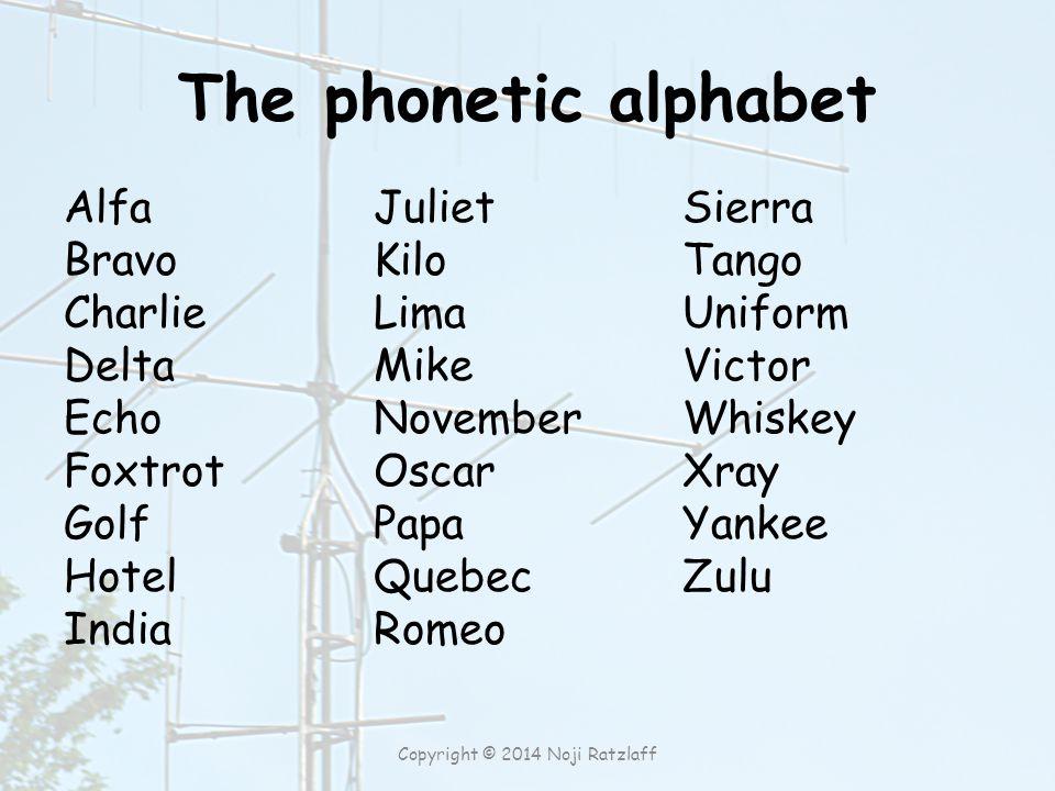 The phonetic alphabet Alfa Bravo Charlie Delta Echo Foxtrot Golf Hotel India Juliet Kilo Lima Mike November Oscar Papa Quebec Romeo Sierra Tango Unifo
