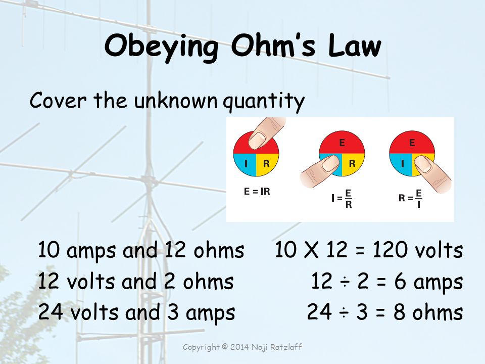 Obeying Ohm's Law Cover the unknown quantity 10 amps and 12 ohms 12 volts and 2 ohms 24 volts and 3 amps 10 X 12 = 120 volts 12 ÷ 2 = 6 amps 24 ÷ 3 = 8 ohms Copyright © 2014 Noji Ratzlaff