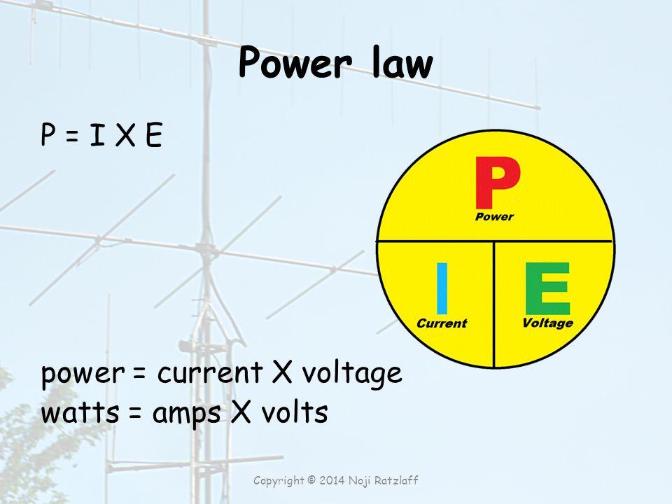 Power law P = I X E power = current X voltage watts = amps X volts Copyright © 2014 Noji Ratzlaff