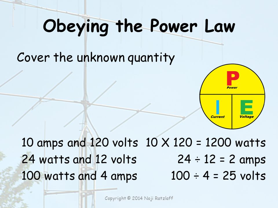 Obeying the Power Law Cover the unknown quantity 10 amps and 120 volts 24 watts and 12 volts 100 watts and 4 amps 10 X 120 = 1200 watts 24 ÷ 12 = 2 amps 100 ÷ 4 = 25 volts Copyright © 2014 Noji Ratzlaff