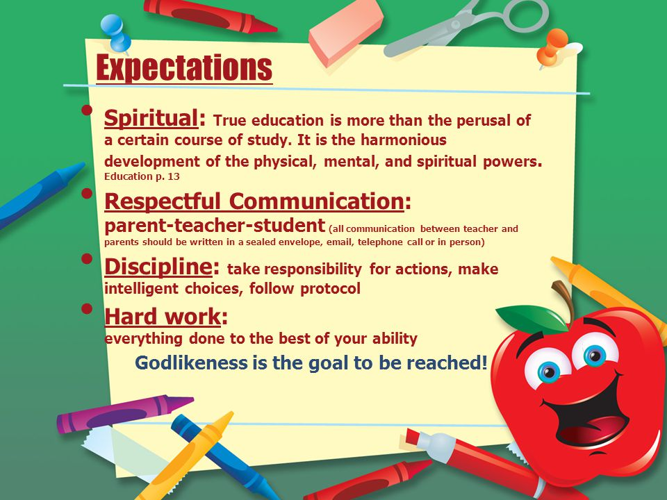 Expectations Spiritual: True education is more than the perusal of a certain course of study.