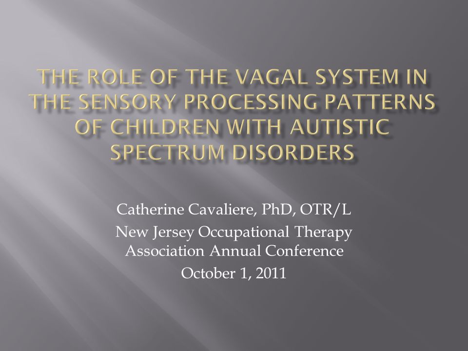 Catherine Cavaliere, PhD, OTR/L New Jersey Occupational Therapy Association Annual Conference October 1, 2011