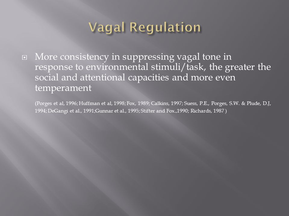  More consistency in suppressing vagal tone in response to environmental stimuli/task, the greater the social and attentional capacities and more even temperament (Porges et al, 1996; Huffman et al, 1998; Fox, 1989; Calkins, 1997; Suess, P.E., Porges, S.W.
