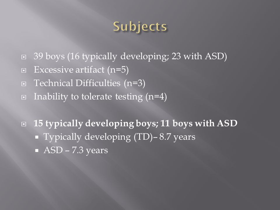  39 boys (16 typically developing; 23 with ASD)  Excessive artifact (n=5)  Technical Difficulties (n=3)  Inability to tolerate testing (n=4)  15 typically developing boys; 11 boys with ASD  Typically developing (TD)– 8.7 years  ASD – 7.3 years