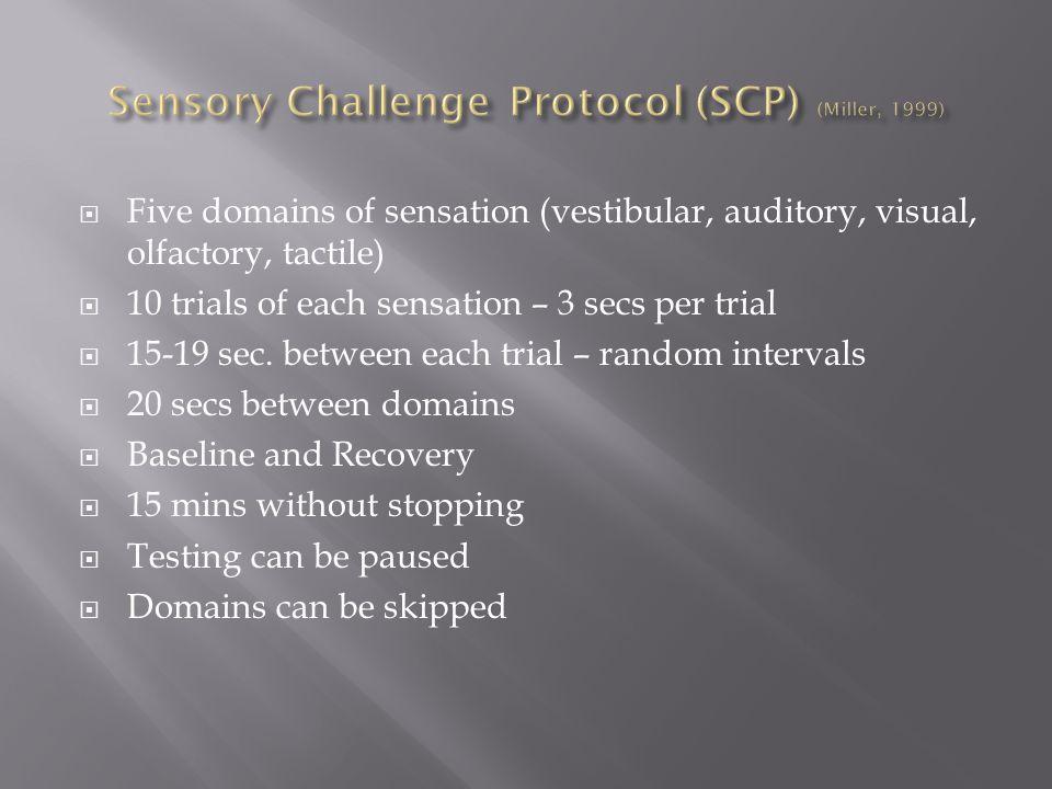 Five domains of sensation (vestibular, auditory, visual, olfactory, tactile)  10 trials of each sensation – 3 secs per trial  15-19 sec.