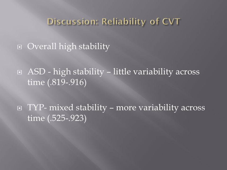  Overall high stability  ASD - high stability – little variability across time (.819-.916)  TYP- mixed stability – more variability across time (.525-.923)