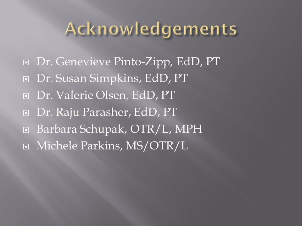  Dr. Genevieve Pinto-Zipp, EdD, PT  Dr. Susan Simpkins, EdD, PT  Dr.