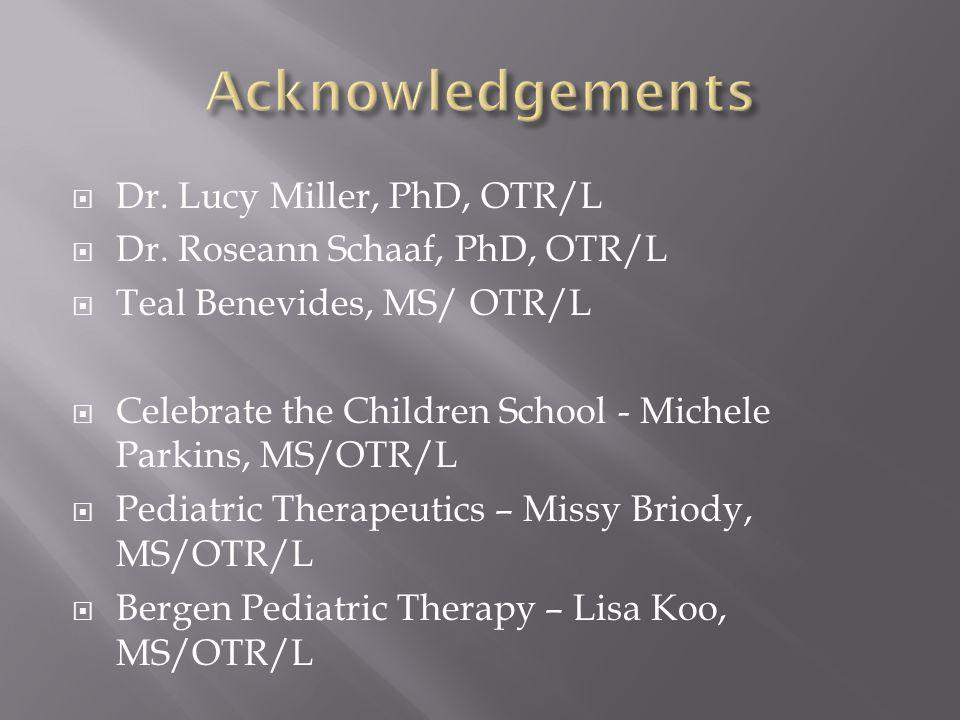 Dr. Lucy Miller, PhD, OTR/L  Dr.