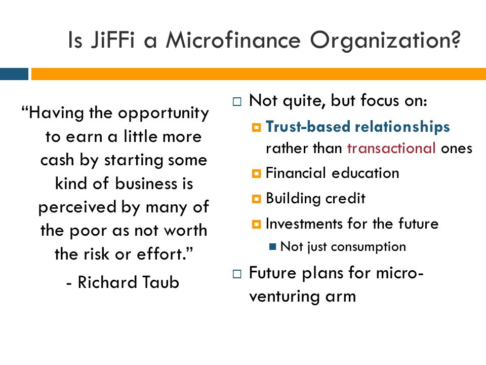 Is JiFFi a Microfinance Organization.