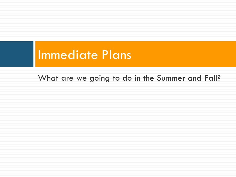 What are we going to do in the Summer and Fall Immediate Plans