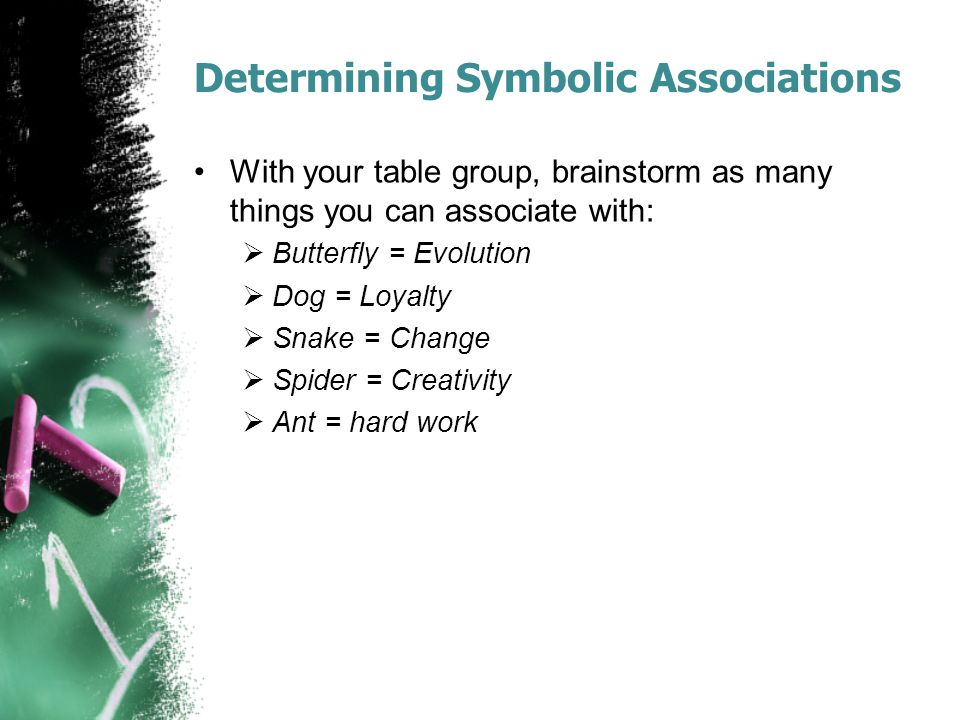 Determining Symbolic Associations With your table group, brainstorm as many things you can associate with:  Butterfly = Evolution  Dog = Loyalty  S