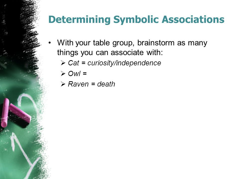 Determining Symbolic Associations With your table group, brainstorm as many things you can associate with:  Cat = curiosity/independence  Owl =  Ra