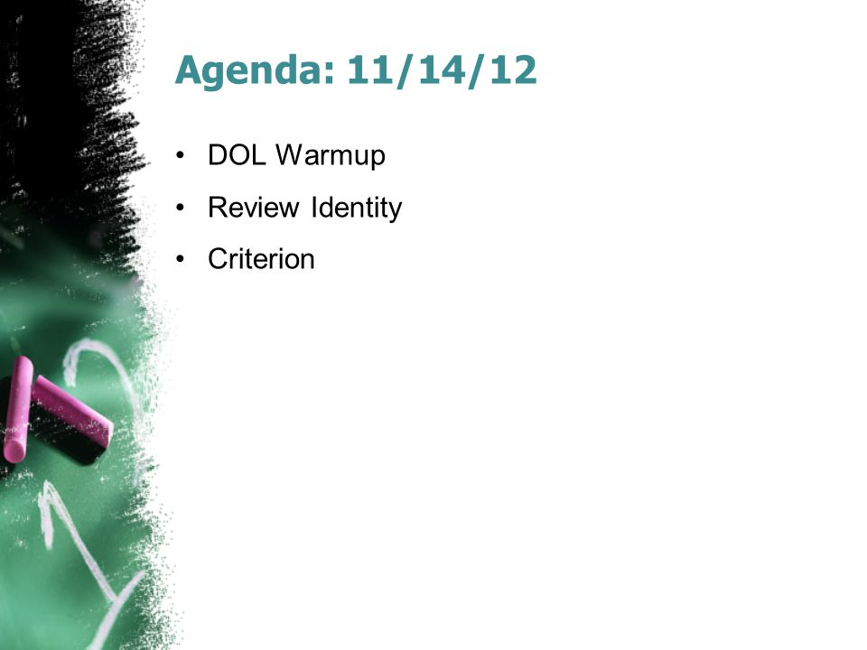 Agenda: 12/3/12 DOL Warmup LotF c5-8 Reading Quiz LotF Groupwork