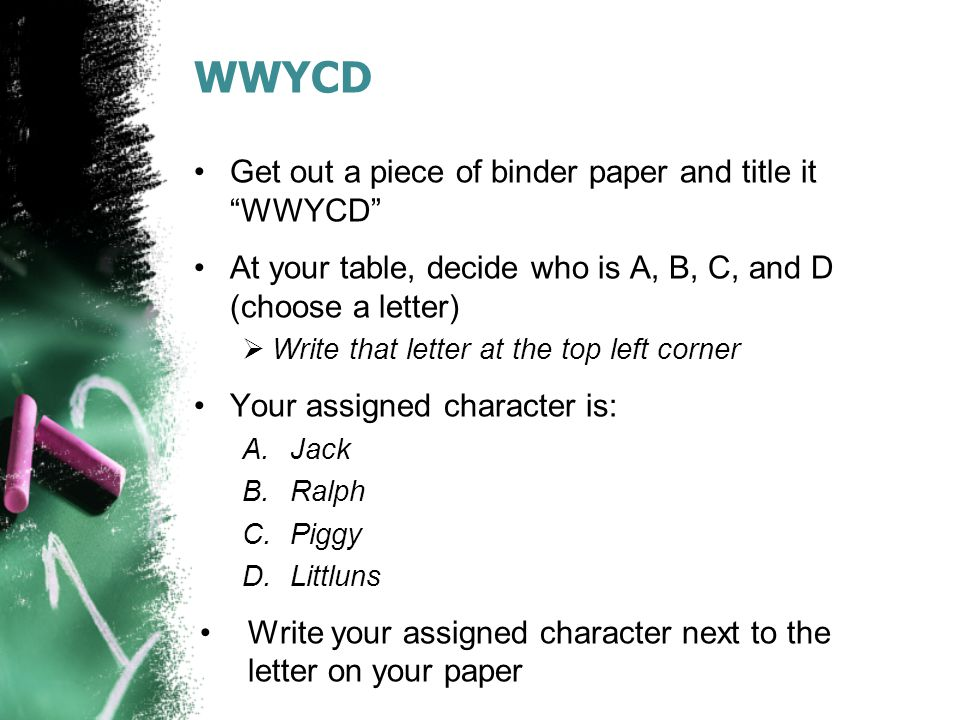 """WWYCD Get out a piece of binder paper and title it """"WWYCD"""" At your table, decide who is A, B, C, and D (choose a letter)  Write that letter at the to"""