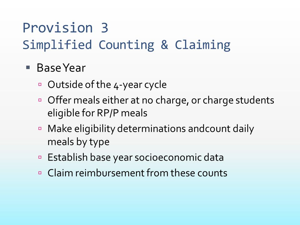 Provision 3 Simplified Counting & Claiming  Base Year  Outside of the 4-year cycle  Offer meals either at no charge, or charge students eligible fo