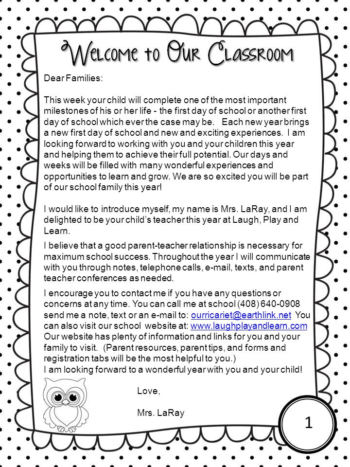 Dear Families: This week your child will complete one of the most important milestones of his or her life - the first day of school or another first d