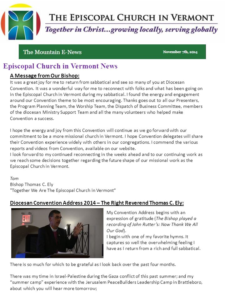 Diocesan Convention Address 2014 – The Right Reverend Thomas C.