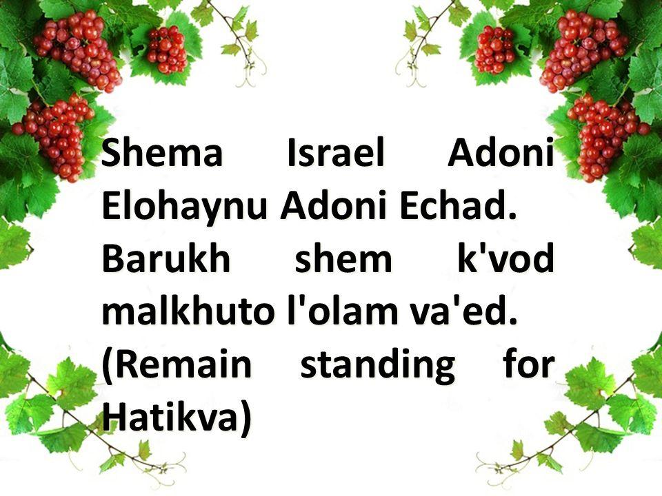 Shema Israel Adoni Elohaynu Adoni Echad. Barukh shem k'vod malkhuto l'olam va'ed. (Remain standing for Hatikva)
