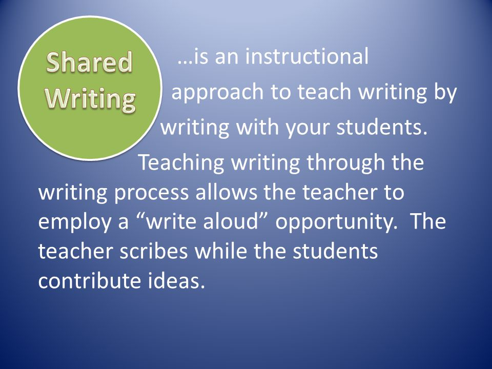 …is an instructional approach to teach writing by writing with your students. Teaching writing through the writing process allows the teacher to emplo