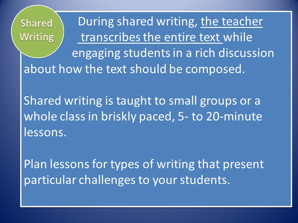 During shared writing, the teacher transcribes the entire text while engaging students in a rich discussion about how the text should be composed. Sha