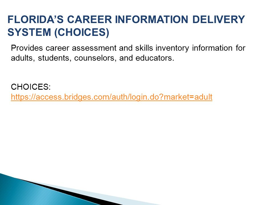 Provides career assessment and skills inventory information for adults, students, counselors, and educators.