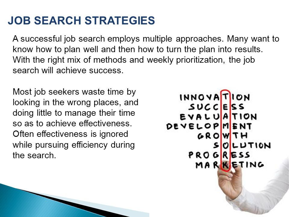 A successful job search employs multiple approaches.