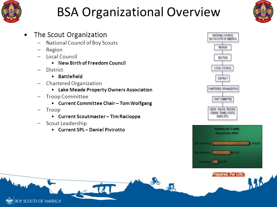 BSA Organizational Overview The Scout Organization –National Council of Boy Scouts –Region –Local Council New Birth of Freedom Council –District Battl