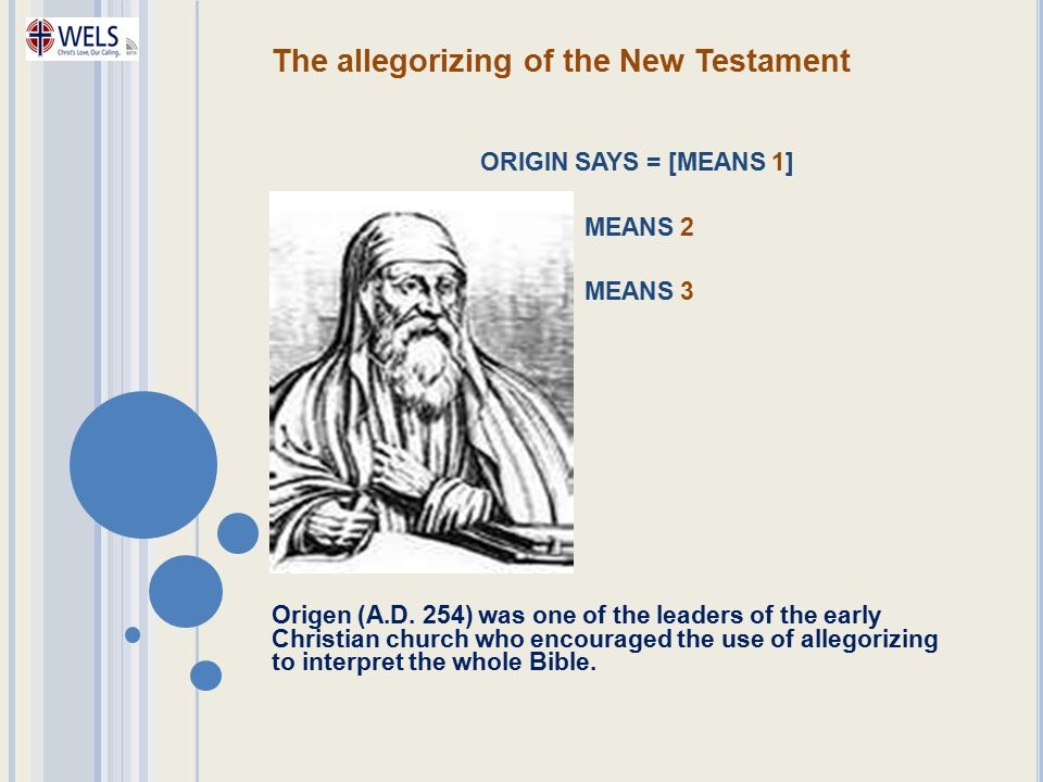 The allegorizing of the New Testament ORIGIN SAYS = [MEANS 1] MEANS 2 MEANS 3 Origen (A.D. 254) was one of the leaders of the early Christian church w
