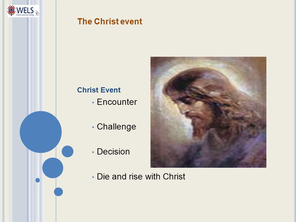 The Christ event Christ Event Encounter Challenge Decision Die and rise with Christ