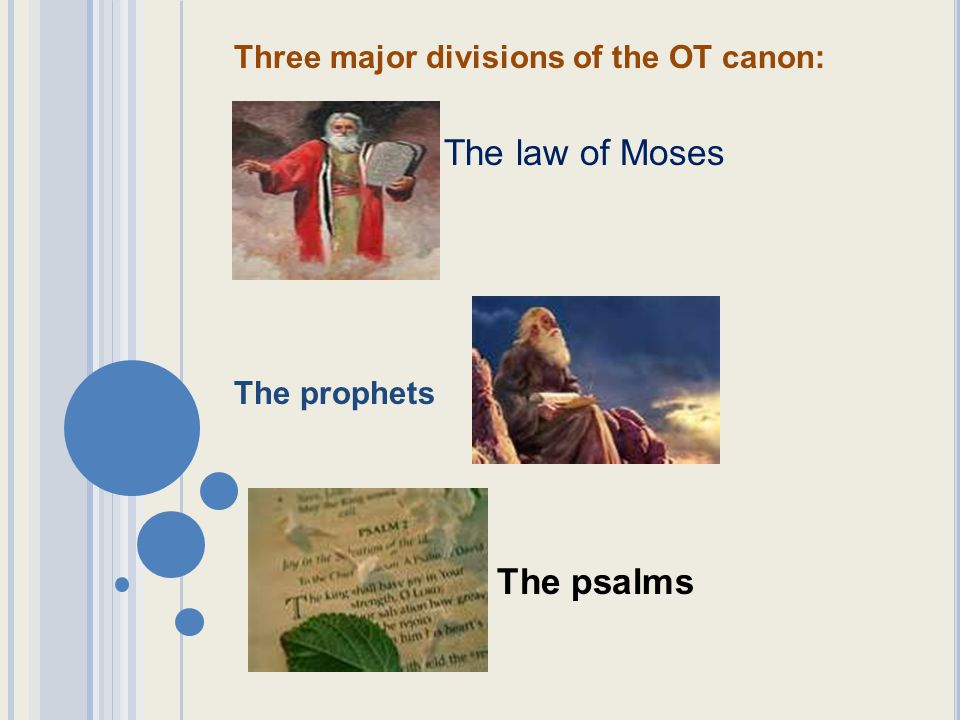 Three major divisions of the OT canon: The law of Moses The prophets The psalms