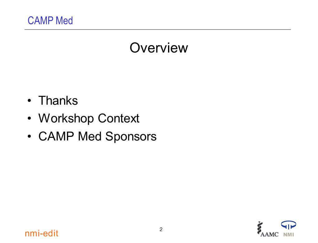 CAMP Med 2 Overview Thanks Workshop Context CAMP Med Sponsors